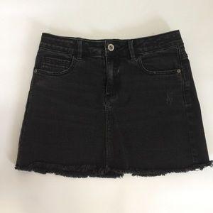Zara black washed jean mini skirt